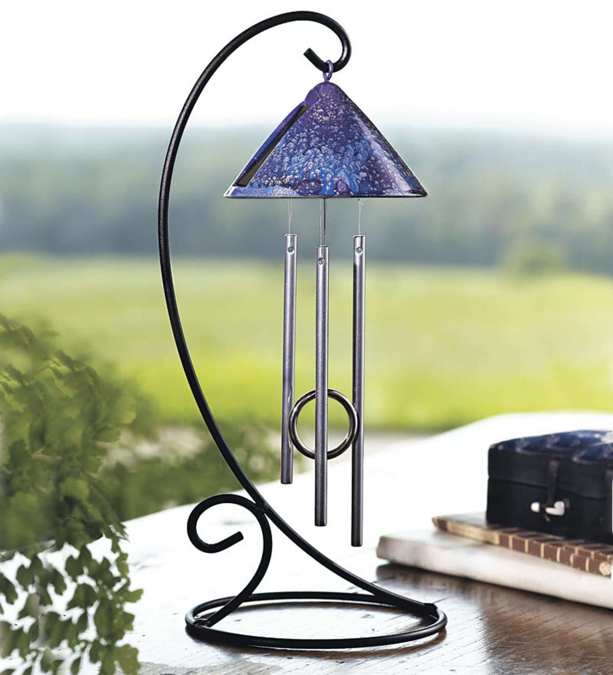 Solar-Powered Desktop Chimes with Wrought Iron Stand