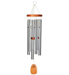 Medium Musical Anodized Aluminum And Ash Amazing Grace Wind Chime With Ash Wood Disk And Wind Catcher