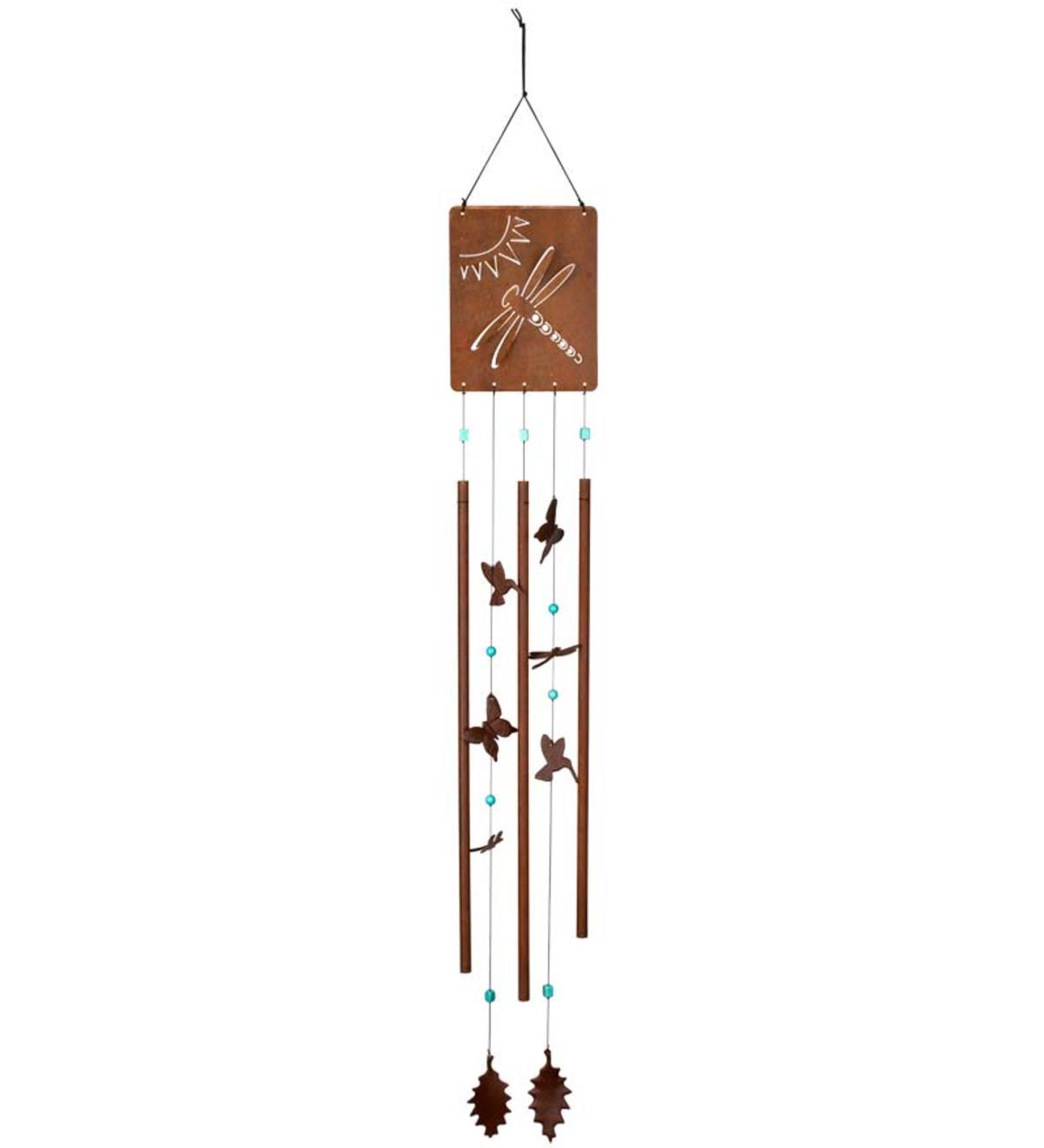 Rust Finish Victorian Garden Wind Chime With Hummingbird And Butterfly Chimes