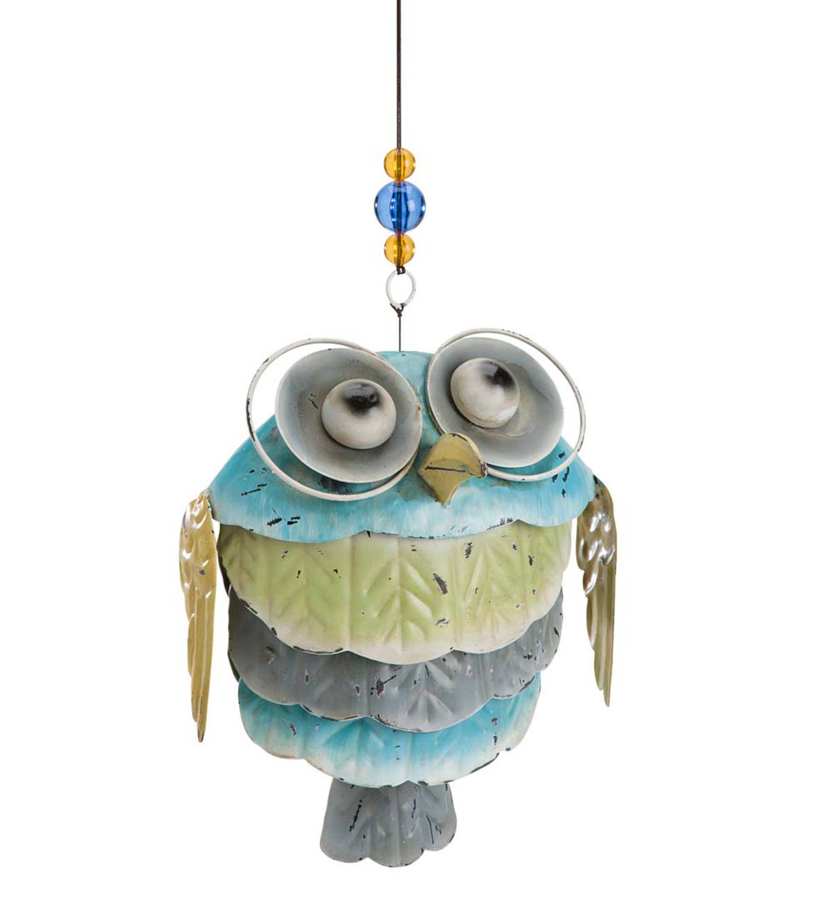 Hanging Metal Owl Garden Accent