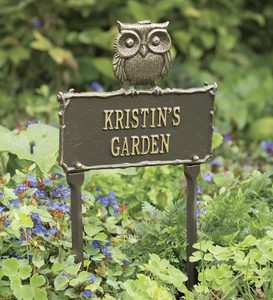 Personalized Owl Metal Garden Plaque