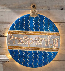 Handcrafted Glowing Metal Christmas Ball Wall Art