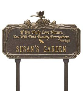 Personalized Van Gogh Dragonfly Garden Plaque - Black/Gold