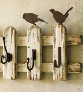 Wood Picket Fence Wall-Mount Coat Rack With Birds