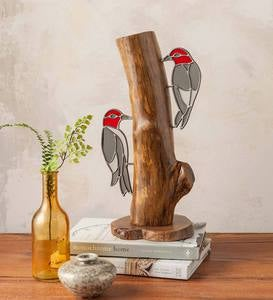 Stained Glass Woodpeckers on Stump