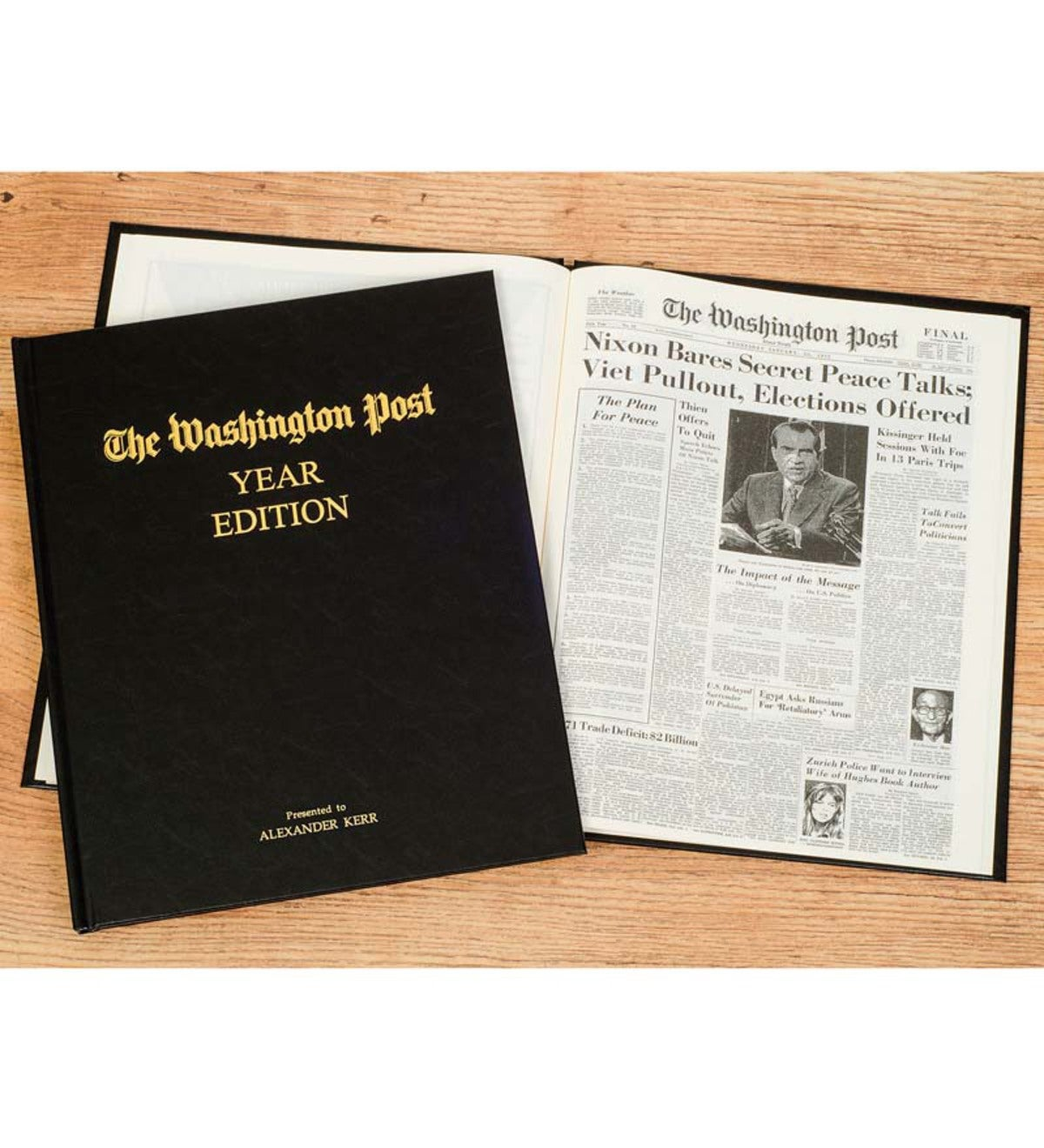 Personalized Washington Post Headlines Newspaper Book   Birthday Edition - Black