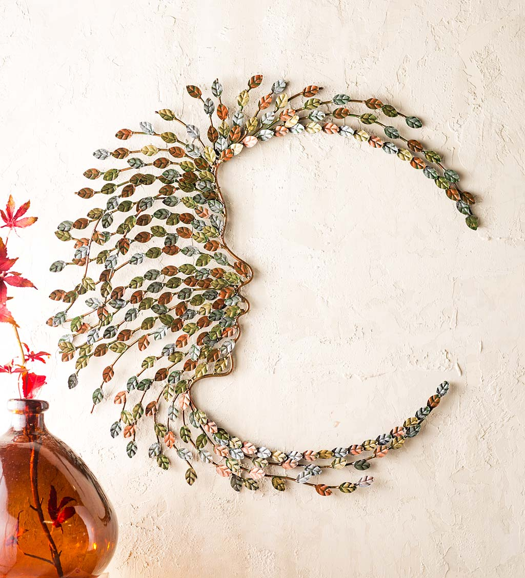 Handcrafted Metal Multi-Colored Willow Branch Moon Face Wall Art