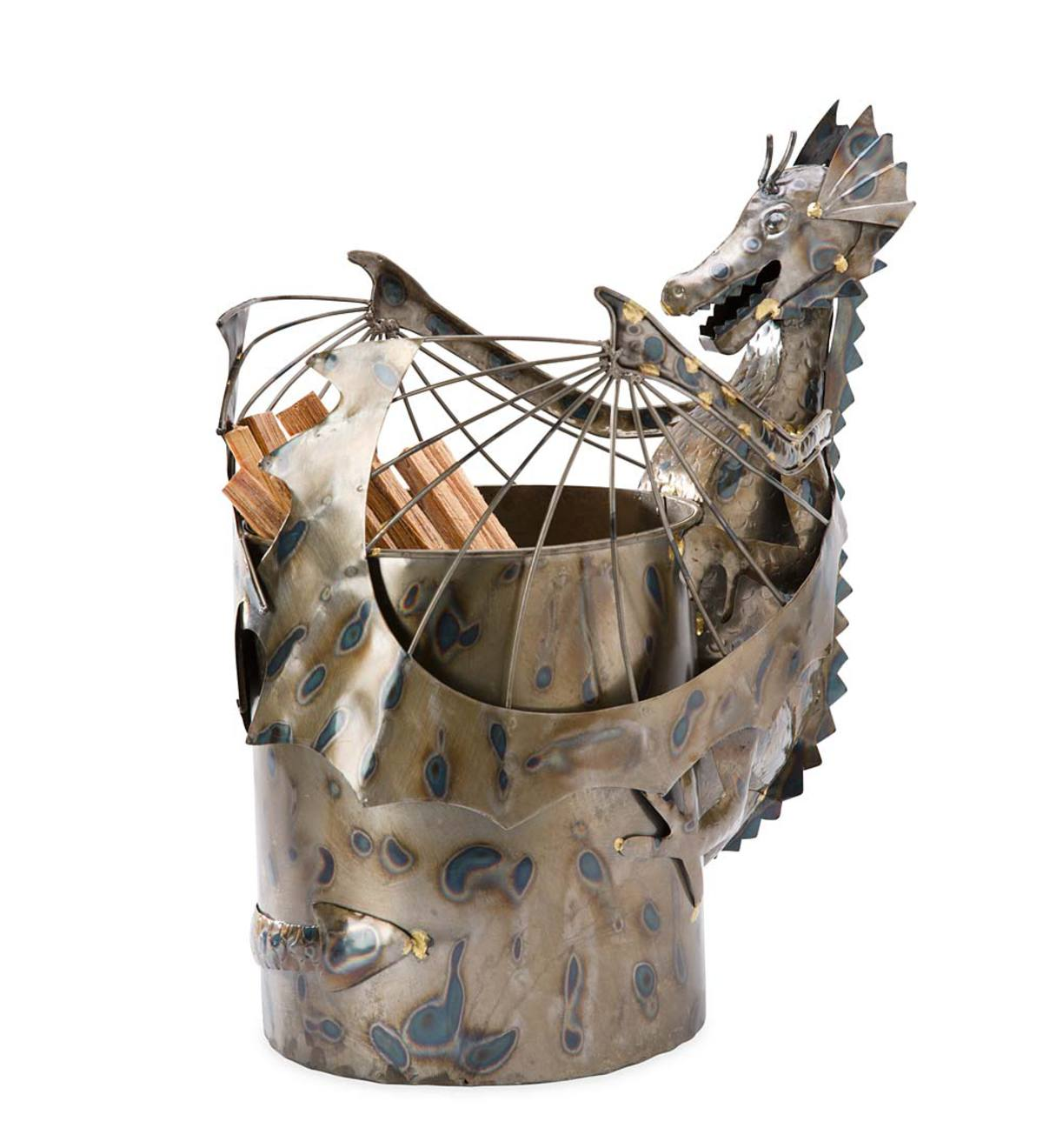 Metal Dragon Fatwood Holder with 5 lbs. of Fatwood - Silver