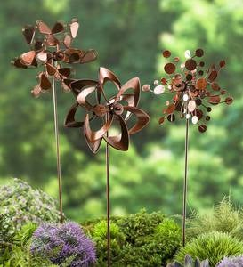 Pinwheel Mini Wind Spinners with Garden Stake, Set of 3 - Copper-Colored