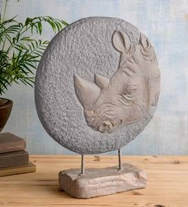 Tabletop Round Rhinoceros 3-Dimensional Sculpture Décor