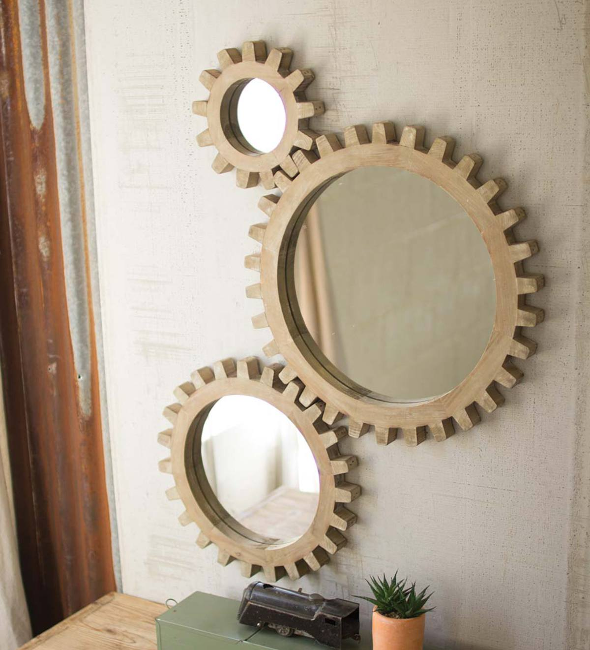 Wooden Gear-Shaped Mirrors, Set of 3