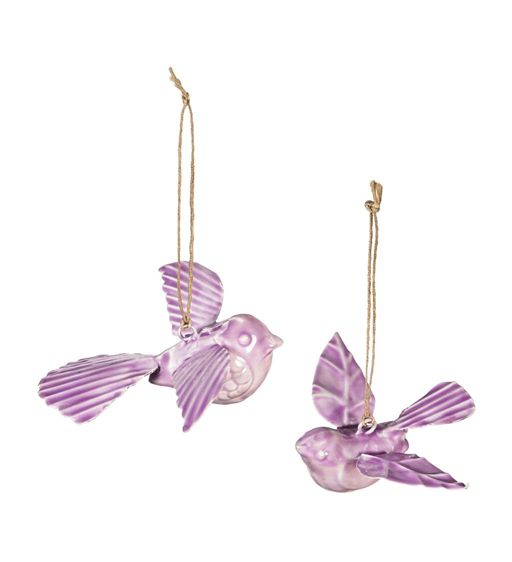 Metal Embossed Enamel Hanging Birds, Set of 2 - Pink