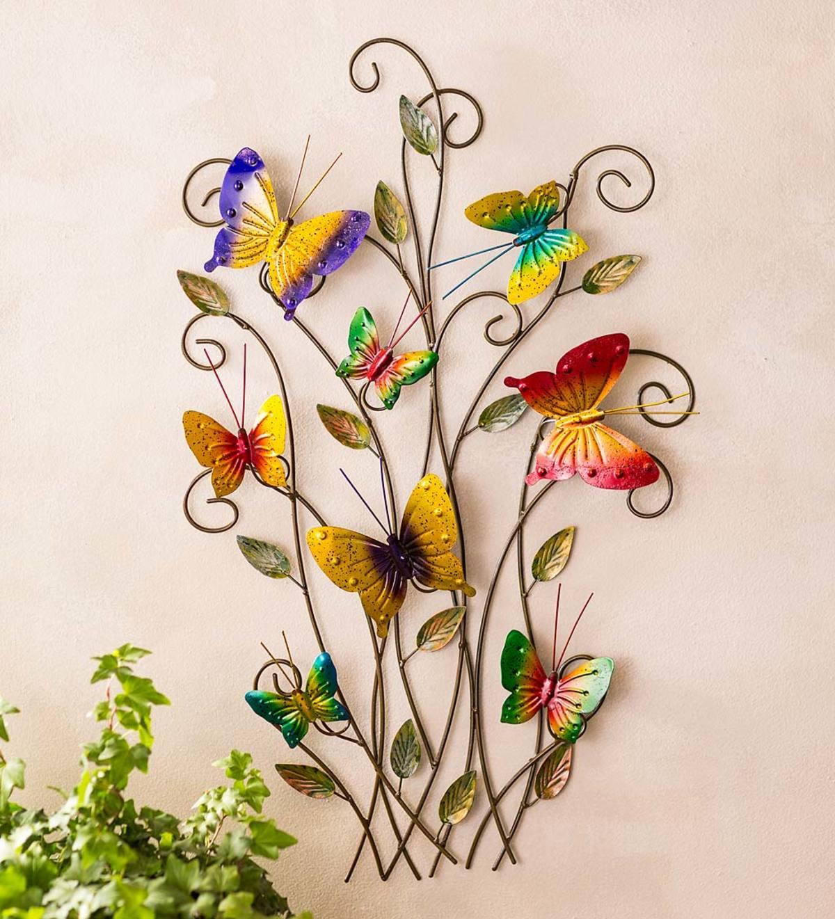 3-Dimensional Indoor/Outdoor Metal Butterflies Wall Art ...