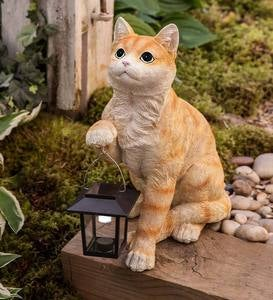 Realistic Resin Cat Sculpture with Solar-Powered Lantern