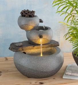 Lighted Three-Tier Indoor Fountain with Electric Pump
