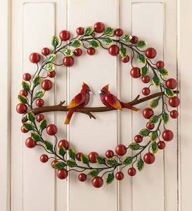 Cardinals and Berries Metal Wreath