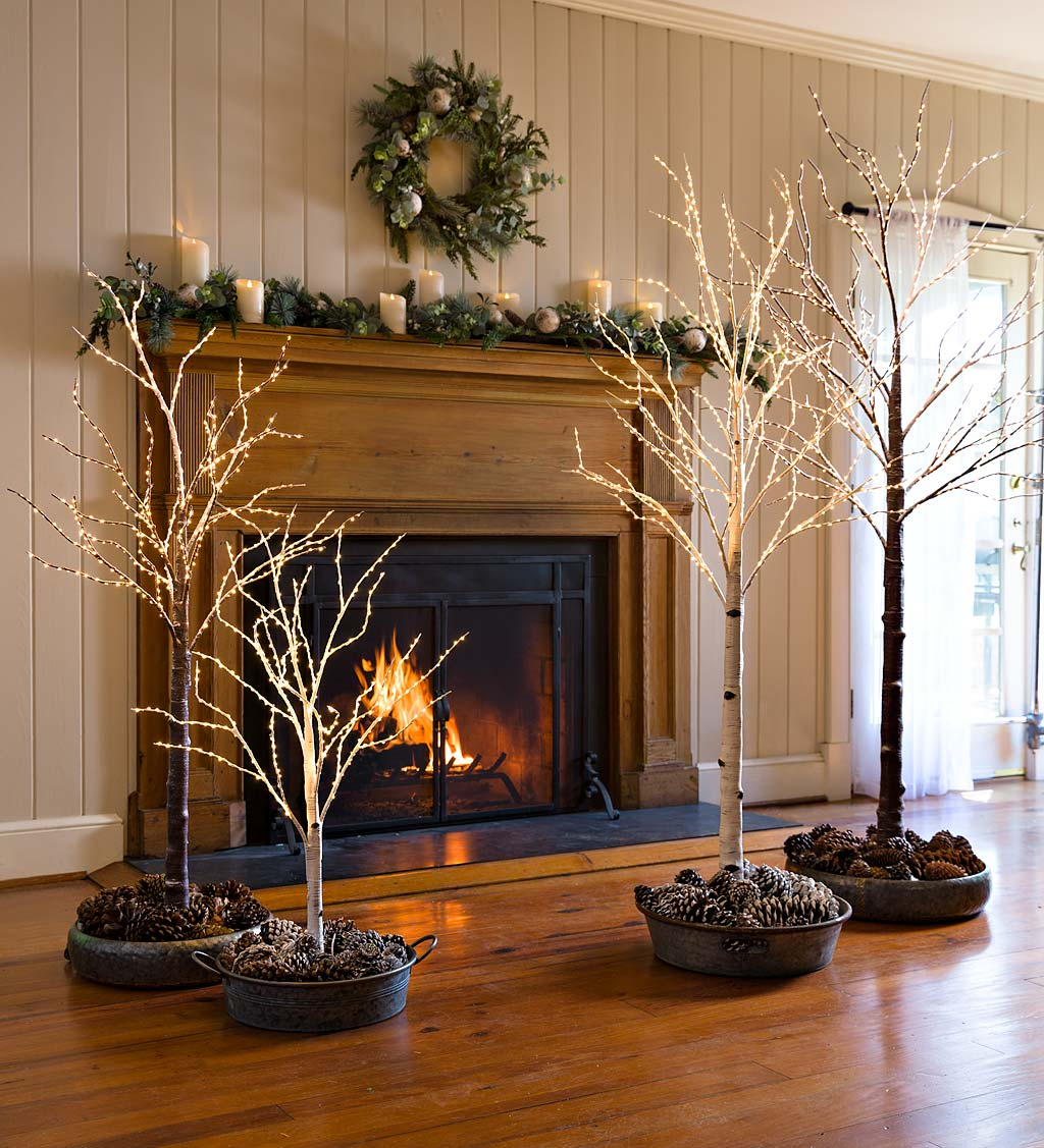 Indoor/Outdoor Birch Tree with Warm White Lights
