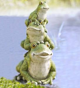 Tower of Frogs Yard Sculpture