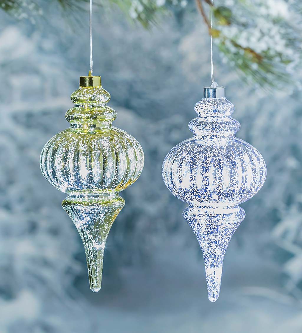 Indoor/Outdoor Lighted Shatterproof Hanging Holiday Finial Ornaments, Set of 2 - Silver/Gold