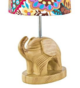 Elephant Lamp with Floral Shade