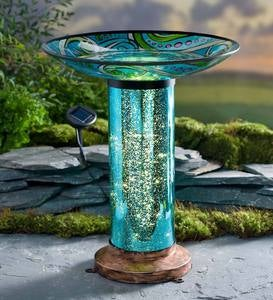 Glass Fish Motif Birdbath with Solar Lighted Mercury Glass Stand