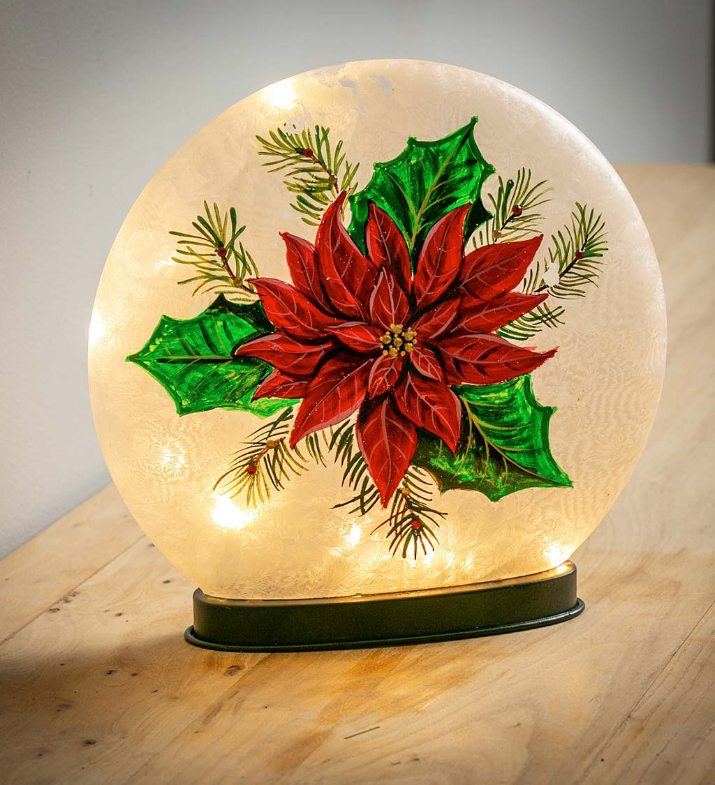 Hand Painted Poinsettia LED Glass Disc Light