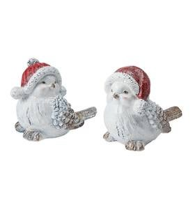 Indoor/Outdoor Holiday Snowbird Figurines with Red Santa Hats, Set of 2