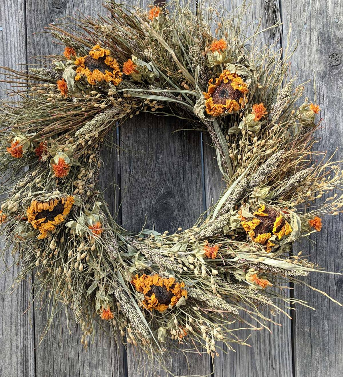 Dried Sunflower and Grasses Wreath