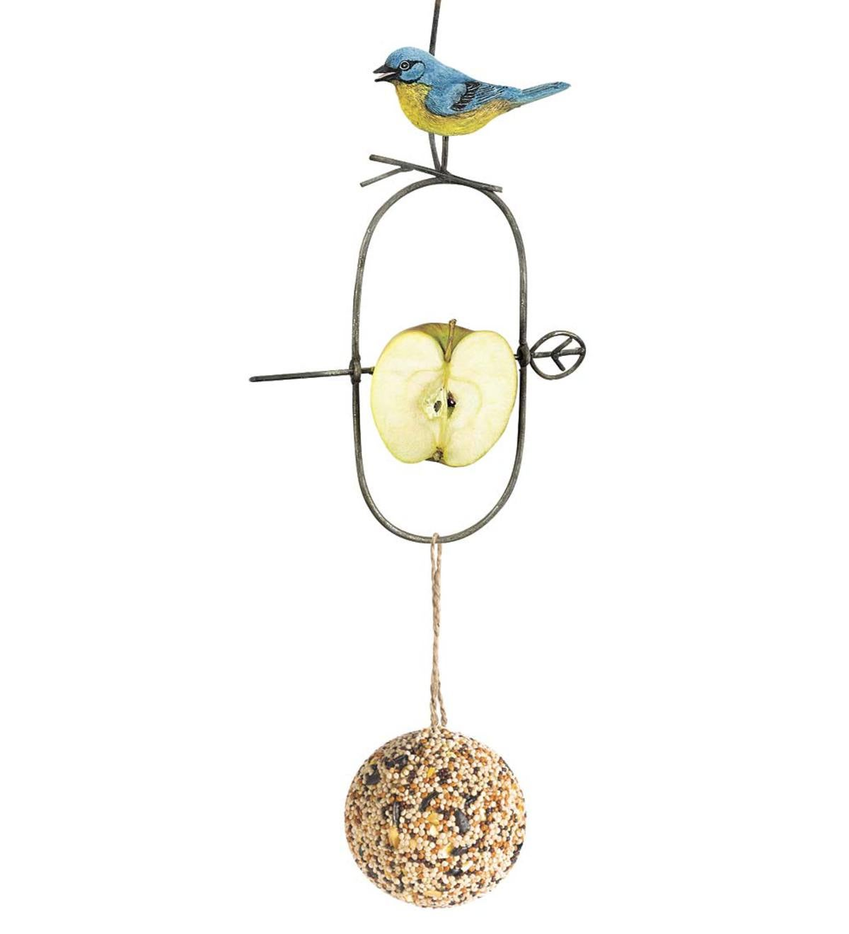 Bird Motif Fruit Spear Feeder with Seed Ball