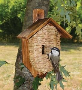 Post-Mounted Natural Grass Roosting Pocket Birdhouse