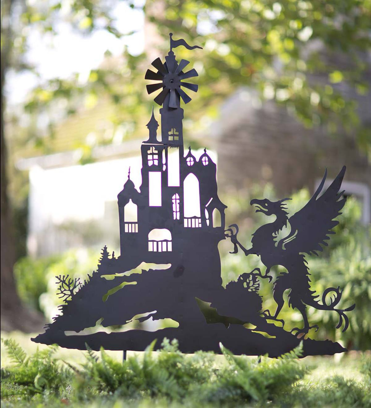 Castle and Dragon Silhouette Stake