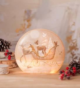 Deer and Friends in a Sleigh Lighted Tabletop Art