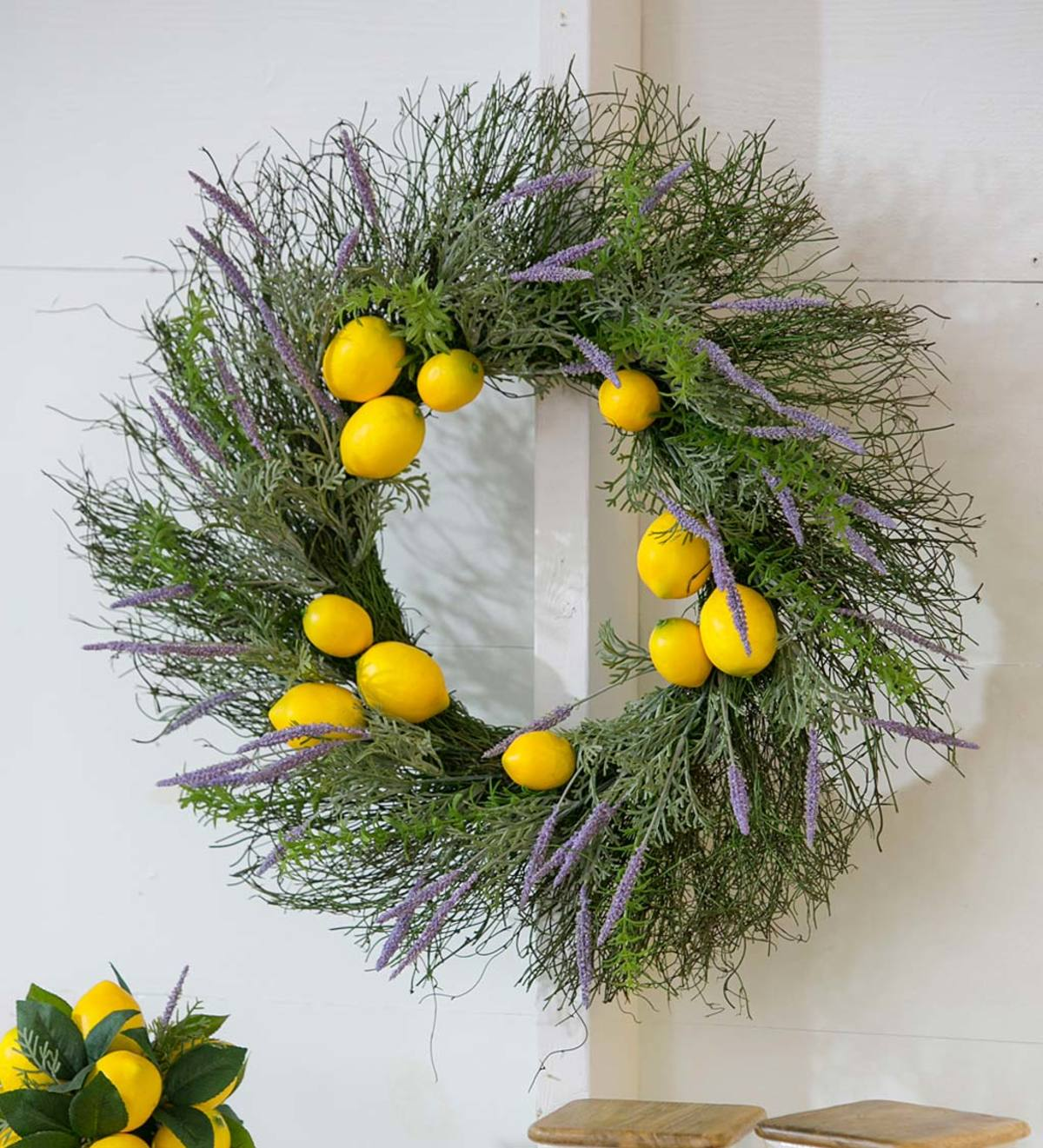 Lemon And Lavender Artificial Wreath Wind And Weather