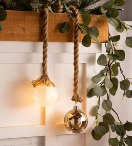 Small Glass Indoor Ball Light With Hanging Rope and Integrated Timer - Smoke