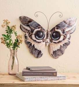 Metal and Capiz Cat Butterfly Wall Art