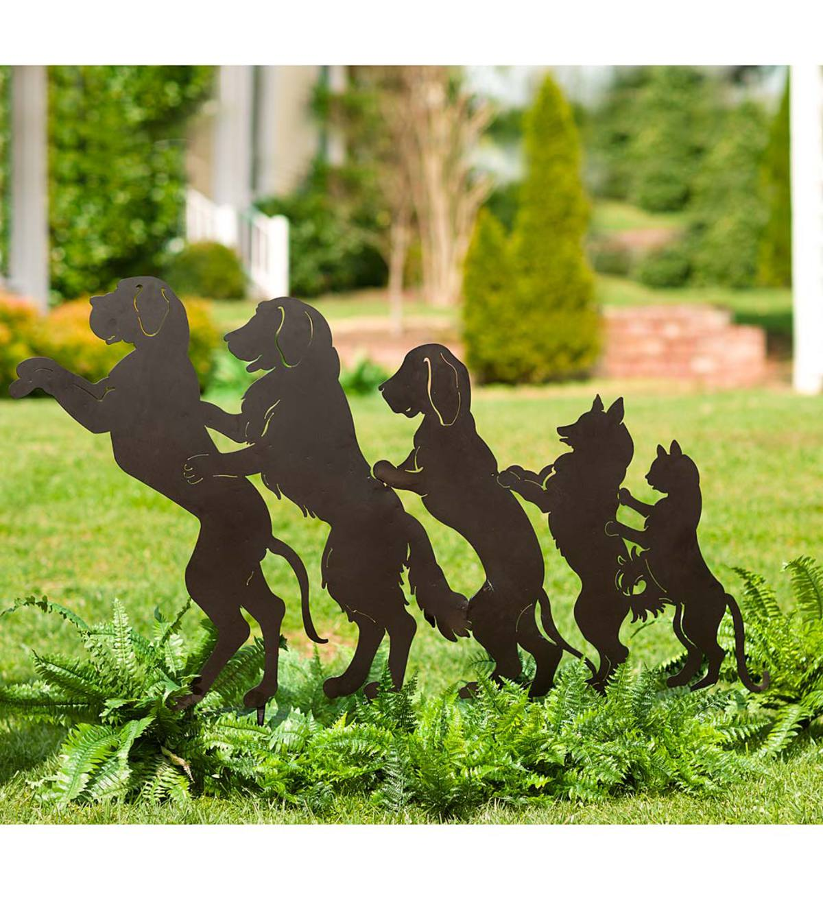 Dog and Cat Conga Line Garden Stake