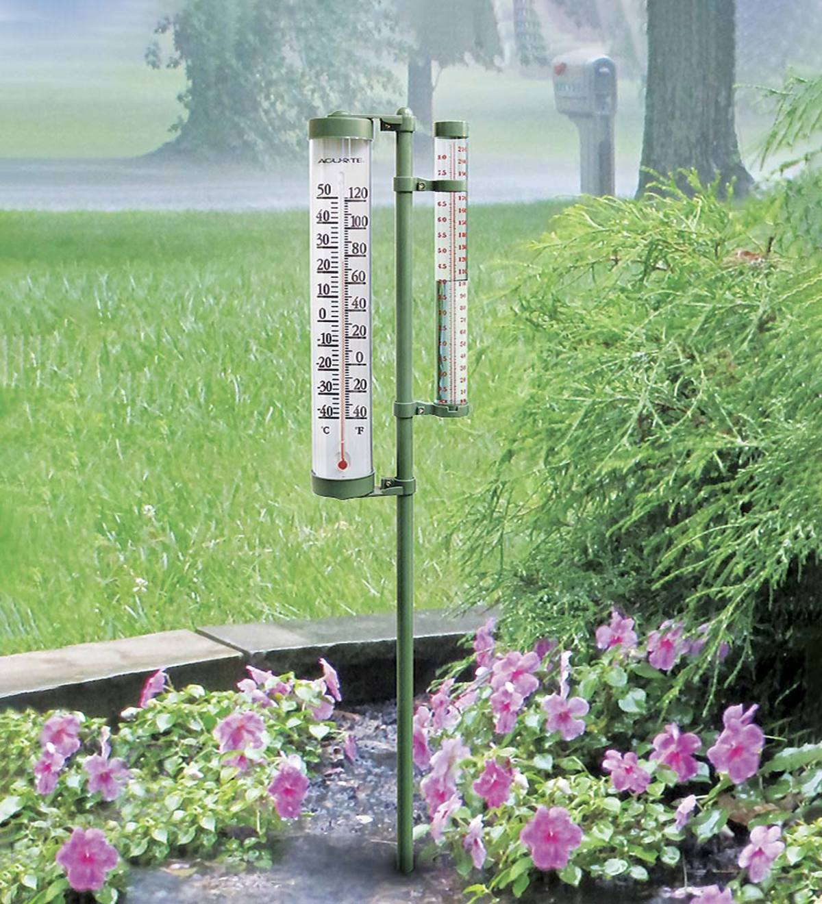 Acurite™ Rain Gauge and Thermometer on Pole