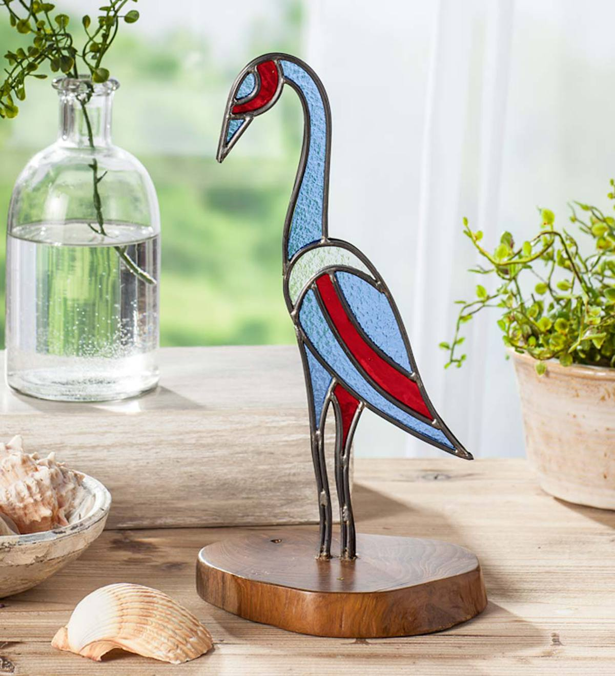 Stained Glass Crane with Teak Wood Base