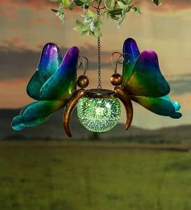 Hanging Solar Lighted Orb with Metal Butterflies