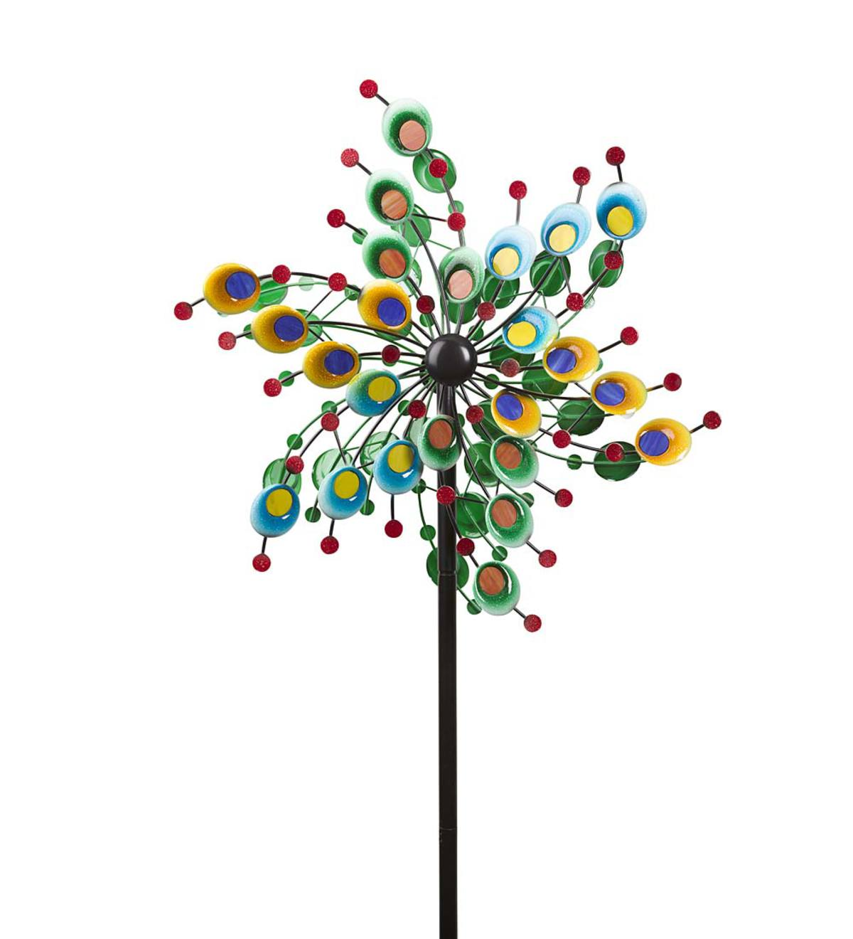 Multi-Colored Spiral Metal and Glass Dual-Rotor Wind Spinner