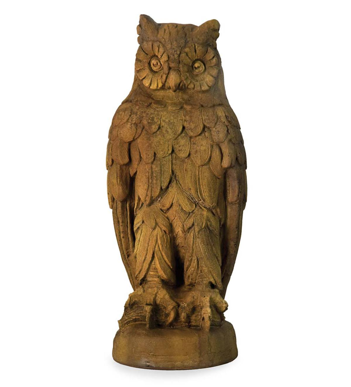 Perched Owl Garden Statue