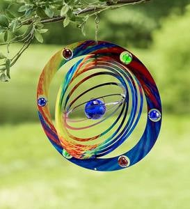 Metal and Glass Planetary Wind Spinner
