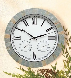 Natural Slate Framed Wall Clock with Temperature and Humidity