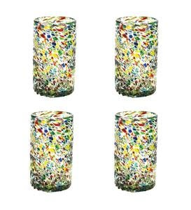 Handcrafted Recycled Glass Confetti Pint Glass, Set of 4