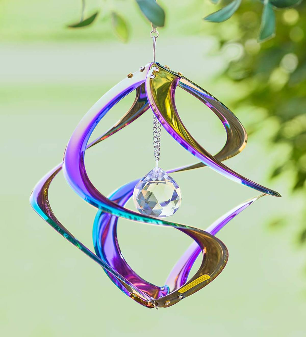 Hanging Iridescent Metal Spiral Wind Spinner with Clear Crystal Center