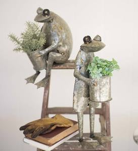 Metal Frog Planters, Set of 2