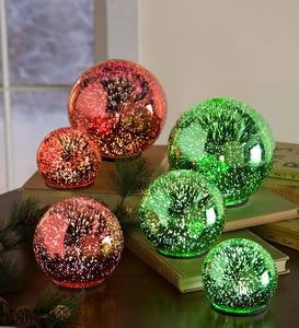 3D Lighted Glass Balls, Set of 3 - Red