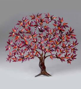 Handcrafted Copper Maple Tree Wall Sculpture