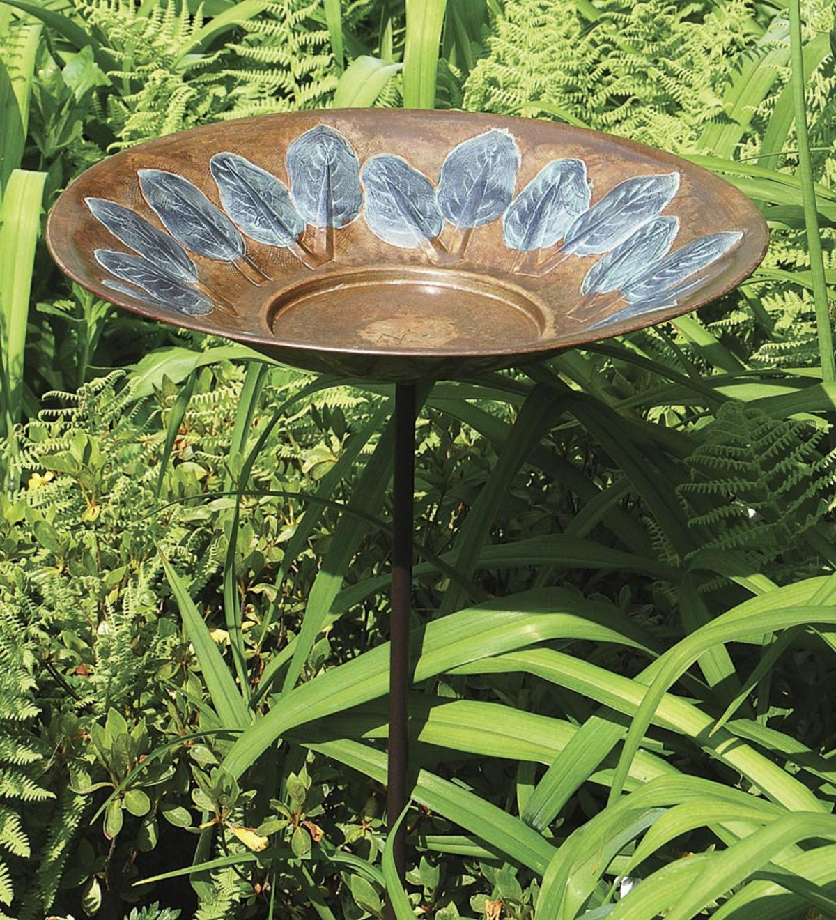 Green Leaves Brass Birdbath