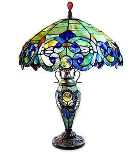Baroque Double-Lit Table Lamp - Teal